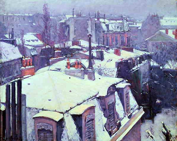Gustave Caillebotte (1848-1894): Toits sous la neige (Effet de neige), 1878
